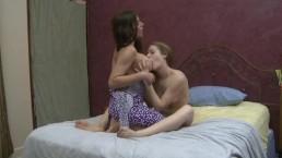 Lesbian Teens Suck On Big Titted MILF