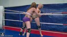 Aleska Diamond And Celine Doll Wrestle And Strip