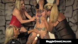 Dom Maggie Green & 2 Subs Pleasure Inked Slave Girl!