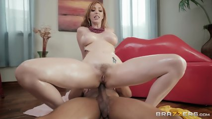 Oiled Redhead Fucked By Ebony Guy