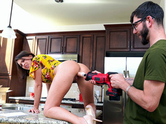 Krissy Lynn Gets Fucked With A Dildo Drill On The Kitchen Counter