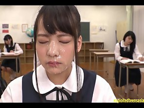 Schoolgirl Abe Mikako Gets Face Covered With Sperm