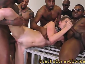 Collared Brunette Babe Getting Deeply Interracial Slammed In Group