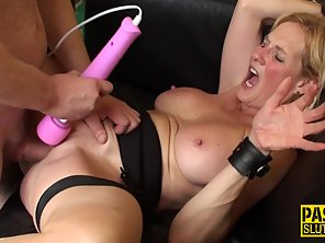 Mature Blonde Flaunts Huge Boobs And Rides Throbbing Dick