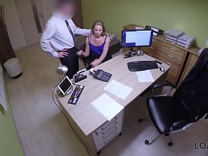 Lingerie Stripping Secretary Getting Deep Nailed By Boss Indoors