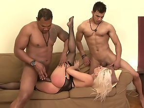 Undressed Blonde Getting Group Hammered Her Asshole And Tight Pussy