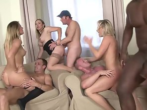 Stockings Wearing Blonde Getting Interracial Slammed In Group