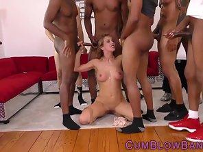 Naked Blonde Getting Bukkake Activity By Black Dudes