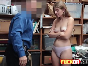 Undressed Shoplifter Slammed From Behind