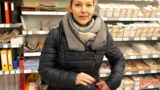 German Blonde In Black Down Jacket Squirting