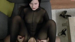 Footjob And Fuck In Bodystocking