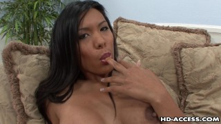 Lustful Asian Slut Moans While Her Shaved Cooch Is Drilled
