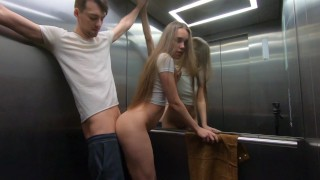 Risky Sex In The Public Elevator. Rough Sex, Blowjob And Facial.