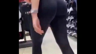 Pussy And Ass Filmed In Footlocker. Shes Wearing A Latex Leggins
